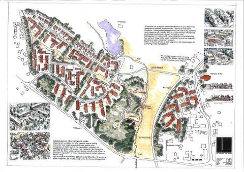 UTSETTES: Bygging av rundt 500 boliger vest for Borgheim utsettes. Det går rådmannen inn for i sin innstilling overfor kommuneplanutvalget. Boligenen som ligger øst for (til høyre) for den planlagte omkjøringsveien er fortsatt med i planen. Tegning: Skanska