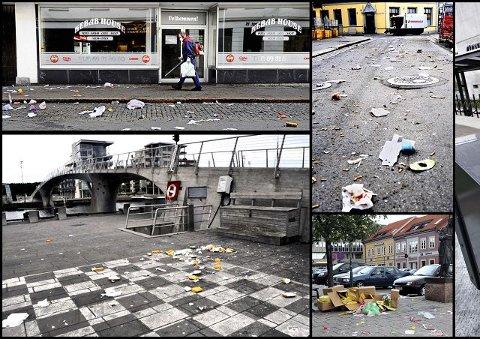 Bedre sommer Bildene viser hvordan det så ut i Fredrikstad sentrum i fjor sommer. I år skal det bli andre boller – blant annet med hjelp av nye søppeldunker som er sikret mot glupske måker. Arkivfoto: Erik Hagen