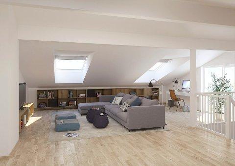 loftsstue: Noen av tomannsboligene har loftsstue over to fulle etasjer.