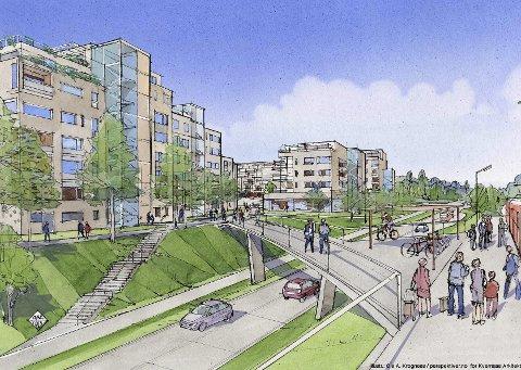 STORT PROSJEKT: Rundt 200 nye leiligheter er planlagt ved Greverud senter. Utbyggerne er i dialog med kommunen om når utbyggingen skal skje. BEGGE ILLUSTRASJONER: KVERNAAS ARKITEKTER AS