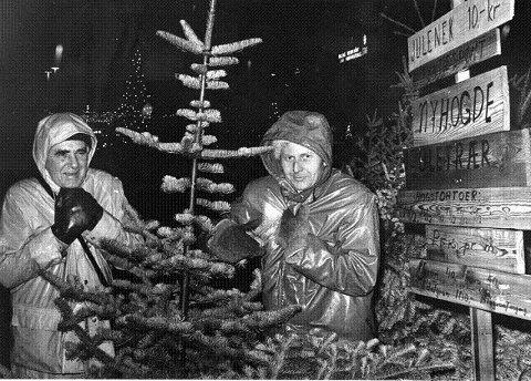 Huttetu, så kaldt det er Harald Samuelsen og Olav Gislerud selger juletrær i nesten all slags vær.
