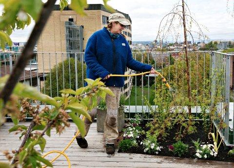 Bygartner Bente Stene Severinsen jobber med god utsikt.