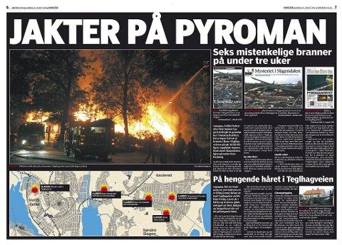 PYROMANJAKT: Seks mistenkelige branner på under tre uker ga dette oppslaget.  Tønsbergs Blad 26. august 2006