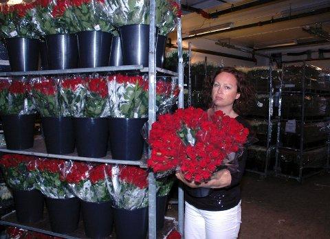 Her er noen av de mange tusen ekstra roser som Mester Grønn har tatt inn de siste to dagene. Innkjøpsdirektør Anne Katrine Gangstad understreker at all fortjeneste på salg av blomster denne uken, både vanlig salg og ekstrasalget, skal gå til Røde Kors.