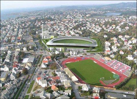 HER KOMMER DEN: Om det blir ny fotballstadion i Haugesund i denne omgang, så blir det på Flotmyr. Fotballstadion vil ha en tilskuerkapasitet på 8.000 og koster i utgangspunktet 273 millioner kroner.