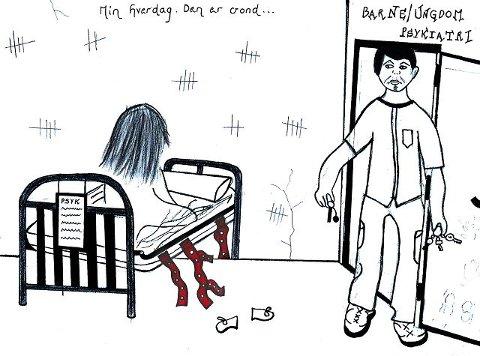 Tegnet selv –Til slutt trodde jeg at jeg fortjente beltelegging, sier Fredrikstad-jenta, som har tegnet et sterkt bilde av opplevelsen hun hadde som psykiatrisk pasient.