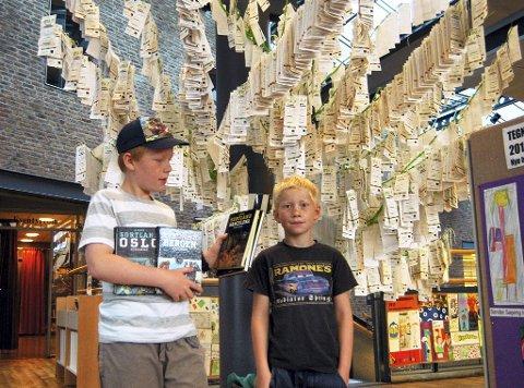 Brødrene Herman Halvorsen Berggreen (9) og Henrik Halvorsen Berggreen (7) har lest masse i sommer. Her står de foran treet med barnas bokanmeldelser.