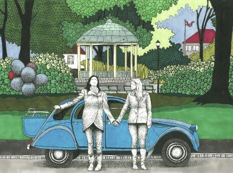 «NOEN»: Vikse har illustrert hver av de ni låtene på gunnartofts album Tid som slippes 19. april. Dette bilde laget 38-åringen til førstesingelen «Noen».