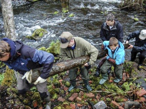 ALLE MANN TIL PUMPENE: Når alle tar et tak, går det greit å få selv tunge stokker opp fra elva.