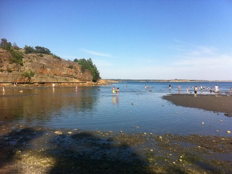 """Lagunestranda på Skjellvika er byens mest langgrunne badestrand. Her kan selv små barn vasse langt utover. Fra sandbanken til høyre og utover er det den nydeligste sandbunn, nærmere lurer """"krokodillene"""" under vannflata."""