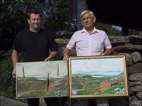 KOPIERT: Styremedlem Knut Haugen i Kringsjås Venner med maleriet Erik Mæland har kopiert. Formannen i foreningen, Tom Melkevik, har originalen.