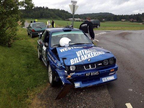 UHELL: Jarle Lippert og Jørn Skjelbred måtte bryte etter denne smellen. Foto: Privat