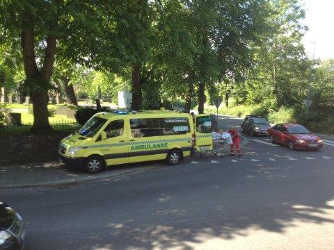 Ambulansen tok gutten med til Sykehuset i Tønsberg.