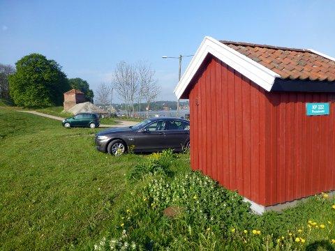 Folk parkerer gjerne på kommunale plener for å skaffe seg gratis parkeringsplass ved byfergen.