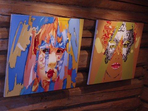 RUSSISK: Nikolai Gorbashow har satset på masker i fem varianter som et av temaene. Grafikeren viser også fargerike malerier.