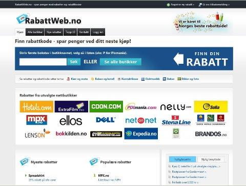 Rabattweb.no samler rabattkoder og rabatter fra mange ulike nettbutikker på én side.