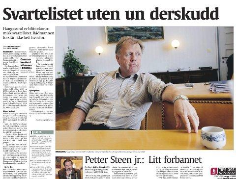 Reagerte: Oppslaget i Haugesunds Avis 12. august 2010 som fortalte at Haugesund var havnet på Robek-lista.