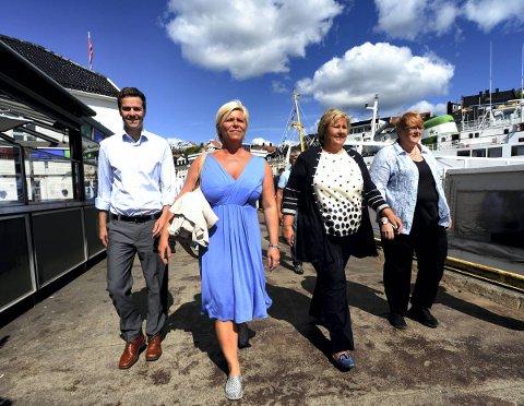 Hva vil skje hvis disse fire får makta etter valget? Ungdomspolitikerne er (naturlig nok) uenige. Knut Arild Hareide Krf , Siv Jensen i Frp, Erna Solberg i Høyre,  og Trine Skei Grande i Venstre.