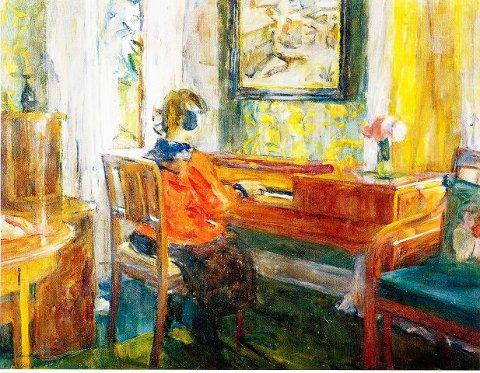 Fra Ormøya, malt i 1921. Det er Anders Backer-Grøndahls lille datter ved oldemors hammerklaver.