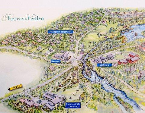 Drømmen: Nærosinger har fått tegnet bygdedrømmen med boligfeltet til Kåshagen innplassert. Tegning: Bjørn Holte