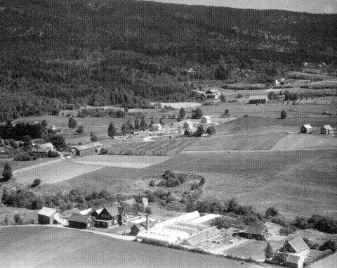 Kjøsterudgårdene ved den nye bygrensa mot Nedre Eiker lå landlig i et jordbruksområde før boligbebyggelsen la beslag på stadig mer dyrket mark.
