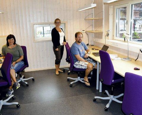 Arbeidsrom: Martodden barnehage har et lyst, stort arbeidsrom for ansatte. Et stort pluss mener, fra venstre: Linda Grande, Marthe Haraldsen Lien og Frode Bakken.Foto: Hilde Berit Evensen