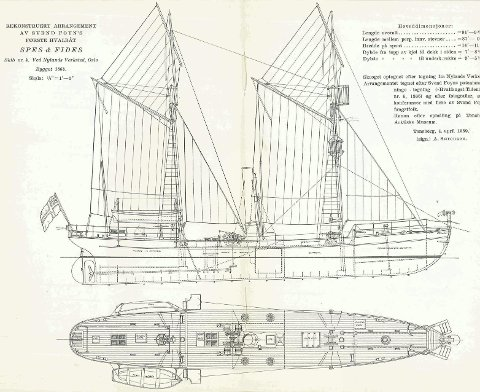SPES & FIDES: Svend Foyns første hvalbåt. Den hadde dampmaskin og ble regnet som den første moderne hvalbåten. Illustrasjoner fra Norsk SjøfartsMuseums skrift nr. 34, utgitt i 1940