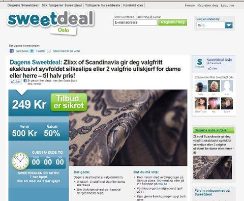 Sweetdeal er et norsk konsept, som hver dag gir et nytt tilbud på varer og tjenester i flere ulike byer.