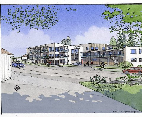 Nordbyveien 122: Det tidligere pølsemakeriet blir leiligheter. ill: Arkitekthuset Knudtsen AS