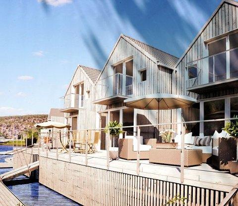 Slik er det meningen at de nye utleiehyttene i Husebukta på Hankø skal se ut.