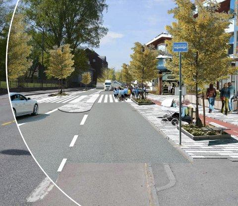 Nedre Eiker vei og Baker Thoens Allé blir firefelts gater, med kollektivfelt og plass for myke trafikanter.