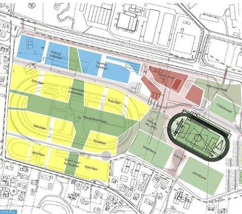 Bydelssenteret (rødt) blir liggende rett overfor Kiwi-bygget, og det blir mer grønt på Travbane-tomten.