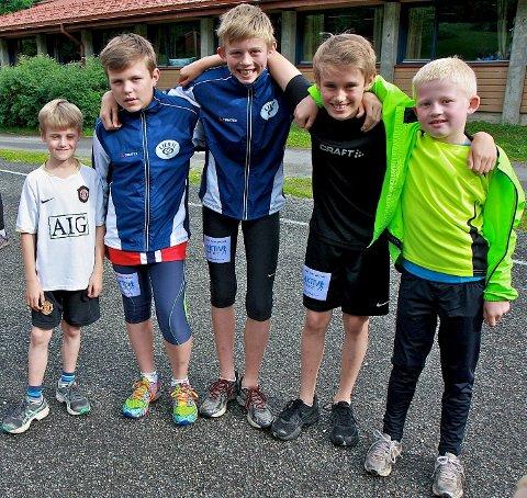 Fra venstre: Jakob Bern (9) fra Lierbyen, Magnus Stokke (12) fra Drammen, Mats Øverby (13) fra Lierbakkene, Jonas Berg (13) fra Lierbyen og Martin Stokke (10) fra Drammen.