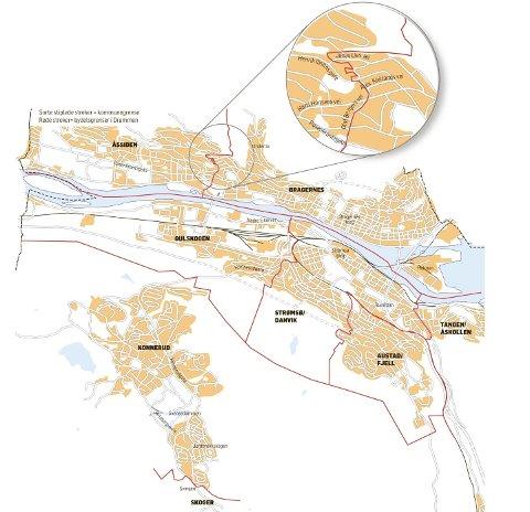 bydeler drammen kart Drammens Tidende   Et sted går grensen! bydeler drammen kart