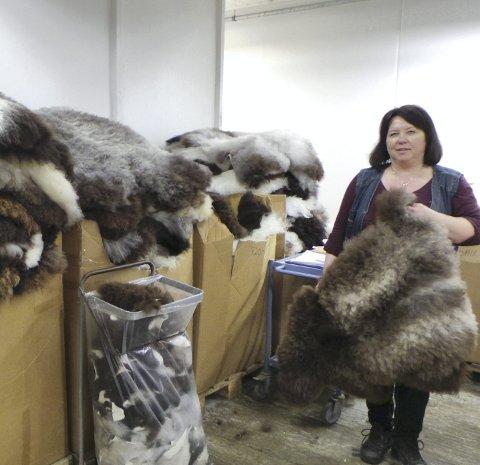 Sorterer: Evy Hjelmtveit sorterer og sender ut saueskinn til forhandlere.