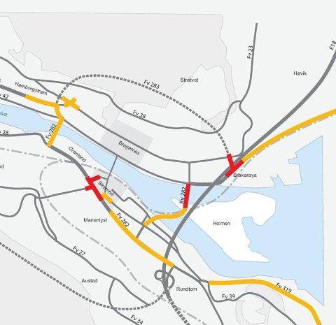 Veiene merket gult, har høy belastning, mens de røde punktene er overbelastet per i dag.