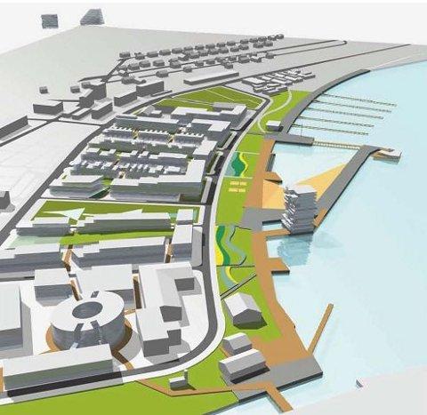 FUGLEPERSPEKTIV 1: Griff Arkitekter foreslår å anlegge en bystrand på innsiden av en molo som går skrått i vestlig retning.