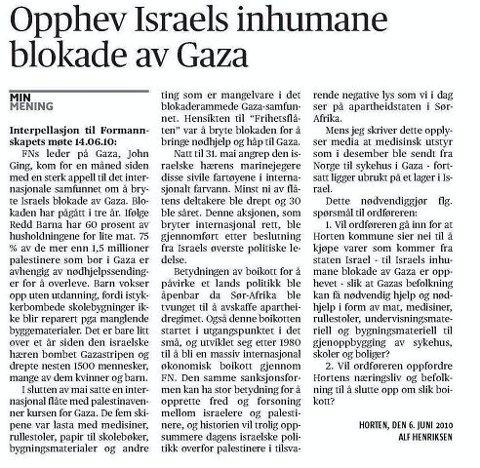FORSLAGET: I denne skriftlige henvendelsen ber Alf Henriksen (Rødt) om at kommunen boikotter israelske varer.