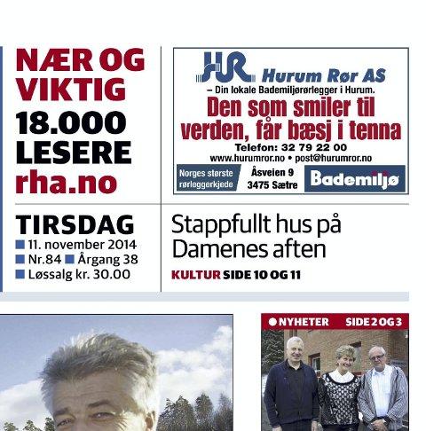 SETT AV MANGE: Annonse fra Hurum Rør på side 1 i RHA.