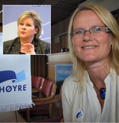 GLAD: Berit Nordseth Moen i Tynset Høyre ser fram til møtet med statsminister Erna Solberg (innfelt).