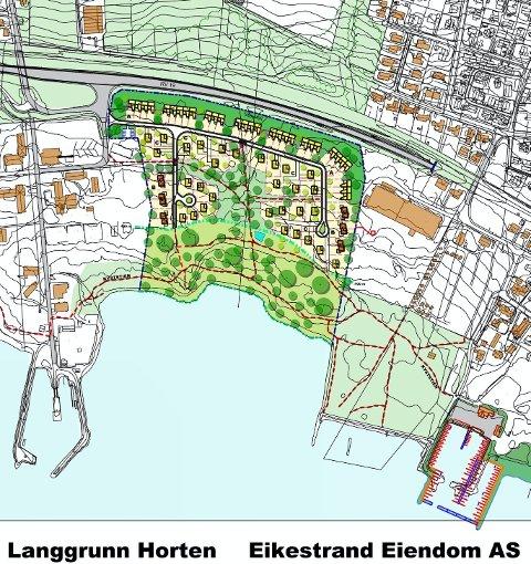 Mellom Langgrunn og den gamle havarivernskolen til venstre, bedriften Sapi samt inngangen til Hortenstunnelen til høyre og strandsonens 100-metersbelte mot sjøen vil Eikestrand ha et boområde med rundt 70 nye boliger.