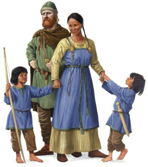 Hjør og Ljufvina var konge og dronning  på Avaldsnes da Harald Hårfagre tok makta.  De fikk tvillingene Håmund og Geirmund. De var mørke i huden, og ble derfor kalt heljarskinn;  det vil si mørkhudet.
