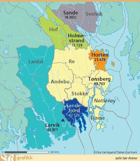 kommuneinndeling kart Sandefjords Blad   Større   eller lykkelig som liten kommuneinndeling kart