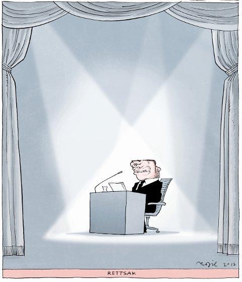 På vinnertegningen «Rettssak» valgte han å skildre rettssaken i fjor vår som en scene, hvor den tiltaltes hode var snudd opp ned.