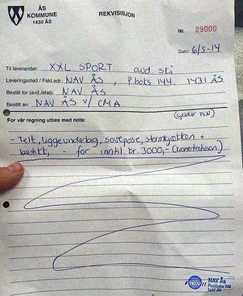 Rekvisisjon: Dette er brevet fra NAV i Ås