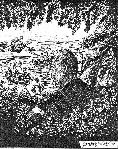 Det ble satt i gang en stor redningsaksjon den gang Harald lot som om han hadde druknet. Her er aksjonen, slik den avdøde tegneren Øivind Enerhaugen så den.