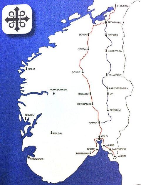 MANGLER EN VIKTIG TUR: Kartet over pilegrimsledene i Norge mangler det Eivind Luthen kaller en viktig bit: Vestfold. Men i disse dager jobbes det for å merke Vestfold fra Sande til Larvik.  Foto: Hans Christian Moen