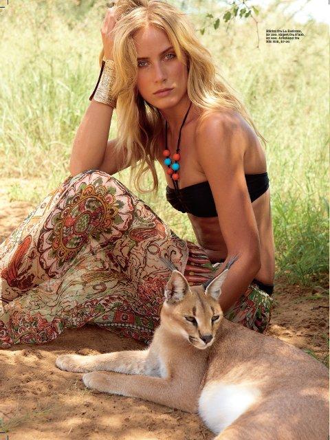 I AFRIKA: Alexandra Ørbeck-Nilsen poserer med ville dyr i Afrika i juni-nummeret til Elle. FOTO: ÅSTA TÄLLGÅRD