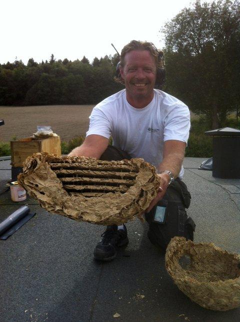 Stig Monstad fant dette vepsebolet i et råttent tak. – Det er det største vi har sett, sier han.