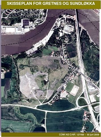 Planområdet Området for skisseplanen avgrenses av Gretnesbekken, riksvei 111 og Kilevoldveien. Området avgrenses stort sett også av E6, mens en mindre bit ligger på den andre siden av E6. Illustrasjon: Cowi/Fredriksstad Blad